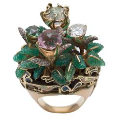 Opal Rubellite Tourmalines Enamels Emeralds Diamonds Gold Rose Garden Ring