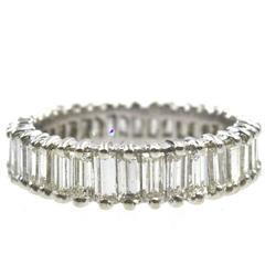 Baguette Diamond Platinum Eternity Band Ring