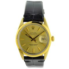Rolex Yellow Gold Stainless Steel Oyster Perpetual Date Gold Shell Wristwatch
