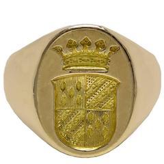 Antique Cartier Paris Don't Be Afraid Gold Crest Ring