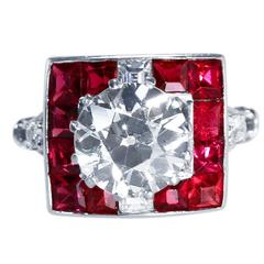 Art Deco 2.83 Carat Diamond and Spinel Ring