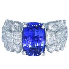 6.72 Carat Ceylon Sapphire and Diamond Ring
