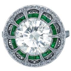 4.09 Carat Diamond Emerald Ring