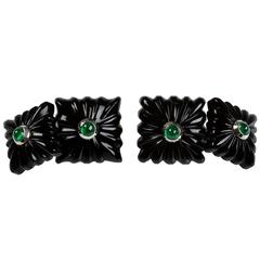 18 Karat White Gold Emeralds Onyx Squared Cufflinks