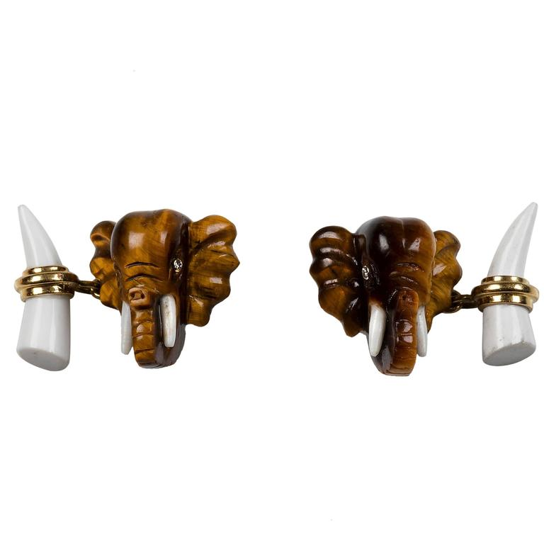 Tiger's Eye Elephant Heads Diamond Gold Cufflinks