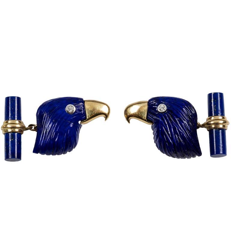 Lapis Lazuli Eagle Diamond 18 Karat Yellow Gold Cufflinks