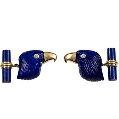 Lapis Lazuli Eagle Diamond Gold Cufflinks