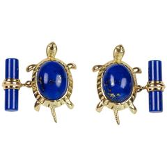 Lapis Lazuli Turtle Gold Cufflinks