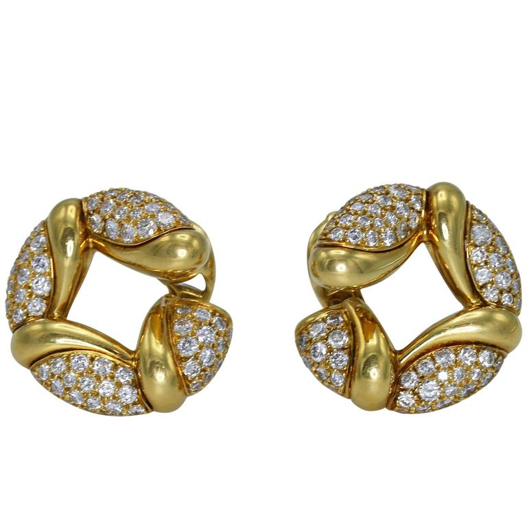 Bulgari Diamond Gold Hoop Earclips For Sale