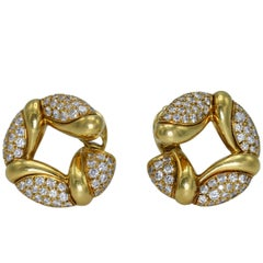 Bulgari Diamond Gold Hoop Earclips