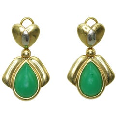 R. Galle Greenstone and Two-Tone Gold Earclips