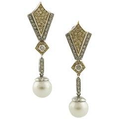 Gold Diamond Pearl Earrings