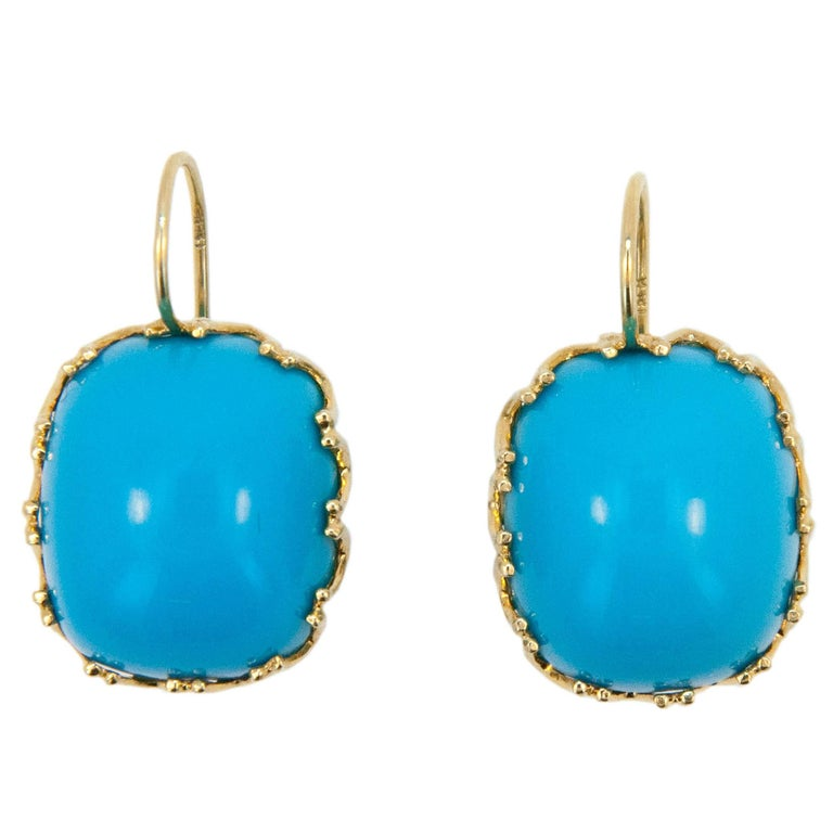Laura Munder Turquoise Yellow Gold Earrings For Sale