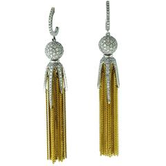 Diamond Claw Tassle Earrings in 18 Karat Yellow Gold and 18 Karat White Gold