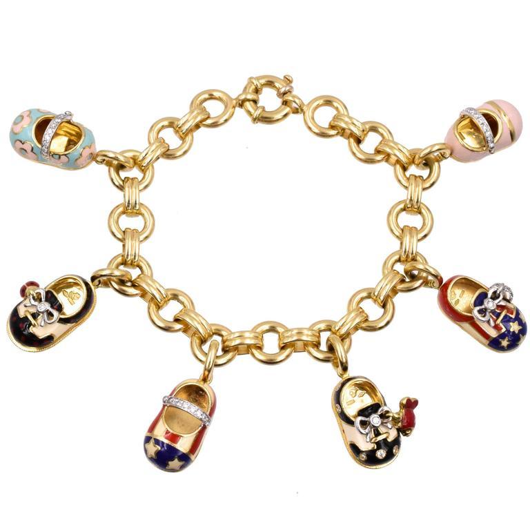 Shoe Charm Bracelet: Aron Basha Shoe Charm Bracelet For Sale At 1stdibs