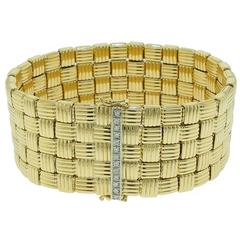 Yellow Gold Wide Basketweave Bracelet with Diamond White Gold Clasp