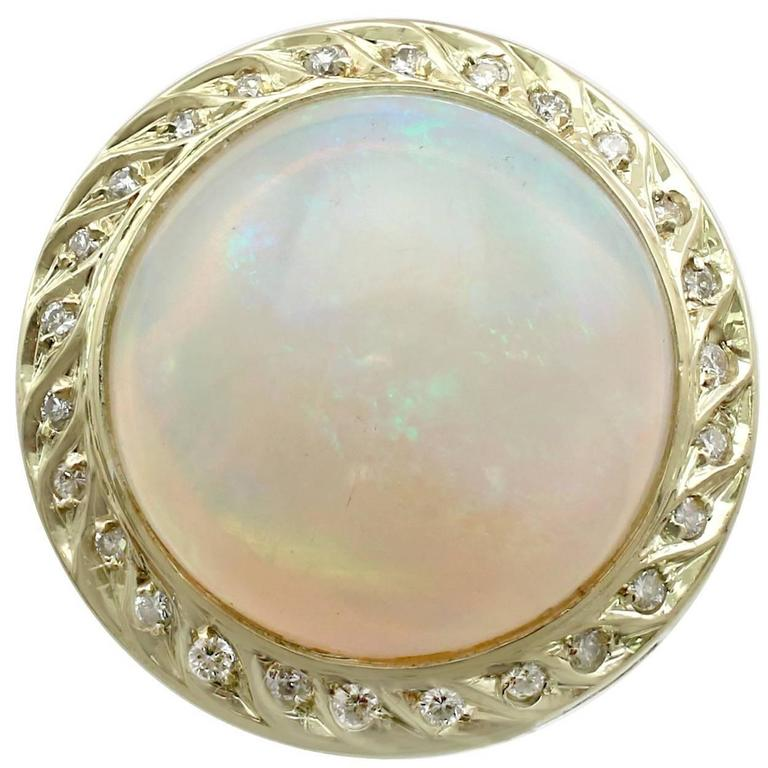 1940s 4.35 Carat Opal and Diamond Yellow Gold Cocktail Ring