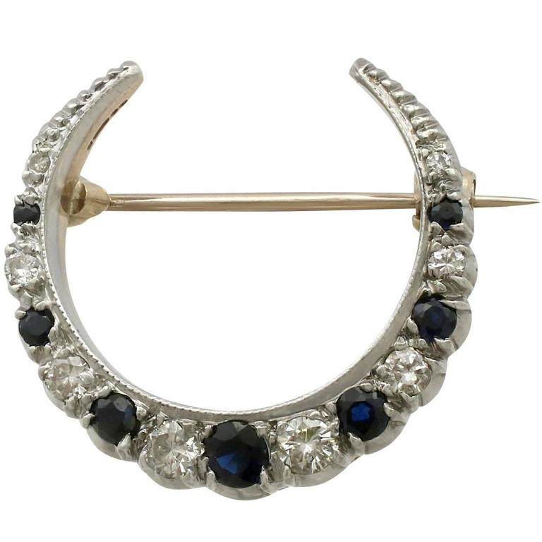 1970s Sapphire and Diamond Yellow Gold Crescent Brooch