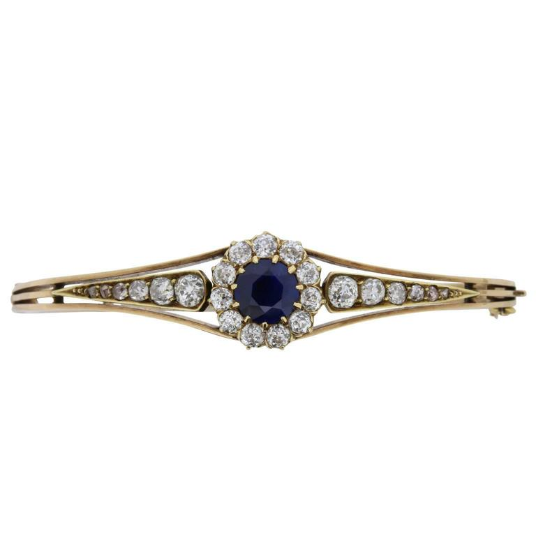 Late Victorian Sapphire and Diamond Bangle Bracelet, circa 1900s For Sale