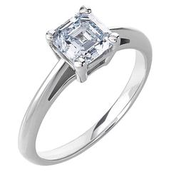 White Gold Asscher Cut White Diamond Solitaire Engagement Ring