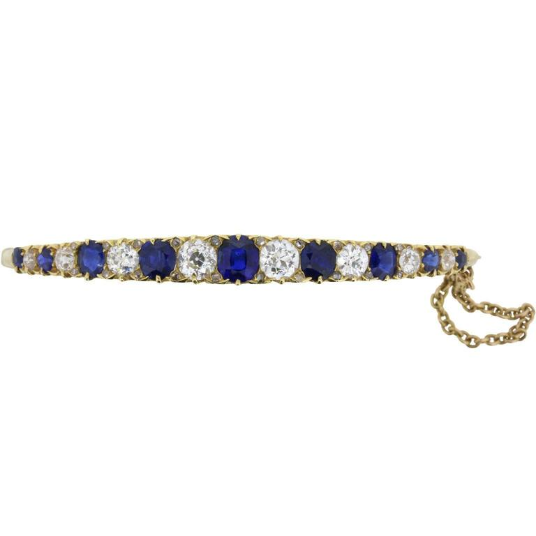 Late Victorian Old Cut Sapphire and Diamond Bangle Bracelet, circa 1900s