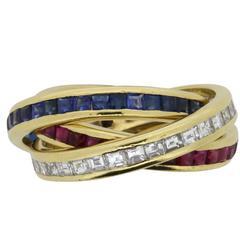 David Morris Diamond, Sapphire and Ruby Tri-Band Ring, circa 1996