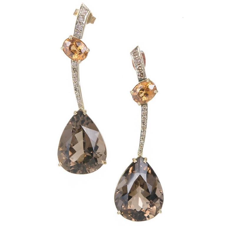 Smoky Quartz Citrine Diamond Gold Dangle Earrings