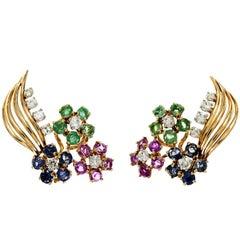 Diamond Emerald Sapphire Ruby Gold Flower Earrings