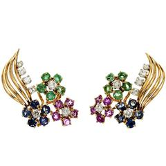 Diamond Emerald Sapphire Ruby Gold Flower Earrings