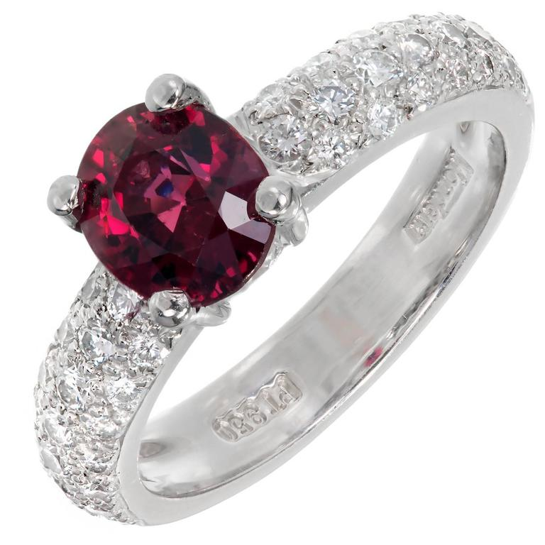 Mondera GIA Certified 1.59 Carat Red Spinel Diamond Platinum Engagement Ring For Sale