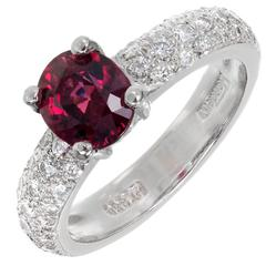 Mondera GIA Certified 1.59 Carat Red Spinel Diamond Platinum Engagement Ring