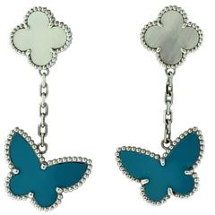 Van Cleef & Arpels Lucky Alhambra Turquoise and Mother-of-Pearl Gold Earring