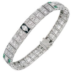 Art Deco Emerald Black Enamel Diamond Platinum Bracelet