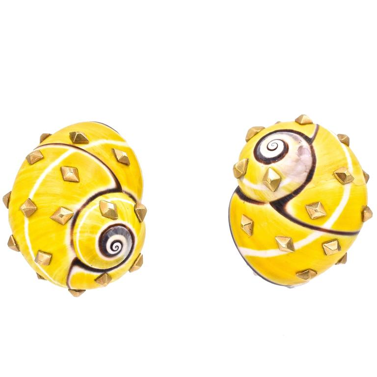 David Webb Yellow Shell Ear Clips