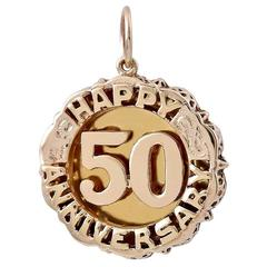 Gold 50th Anniversary Charm