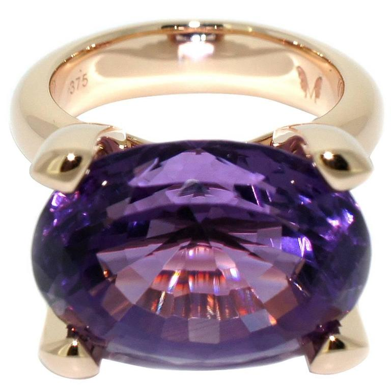 Lizunova One Of A Kind Amethyst Rose Gold Cocktail Ring