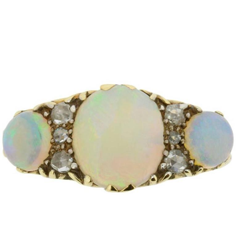 Victorian Opal and Rose Cut Diamond Ring, circa 1900s