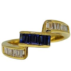 Baguette Sapphires and Diamonds Yellow Gold Ring