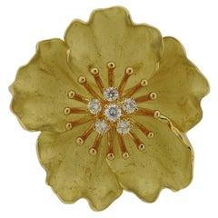 Tiffany & Co. Gold Diamond Wild Rose Flower Brooch Pin