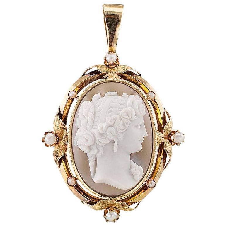 1850s Victorian Hard Stone Cameo Pearl Gold Pendant For Sale