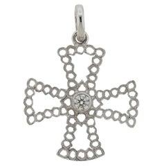 Buccellati White Gold Diamond Cross Pendant
