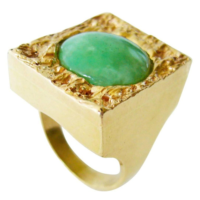 1960's Jade Gold Textured Modernist Ring For Sale