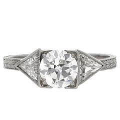 1920s  Century Old-European Cut 0.90 Carat Diamond Platinum Ring