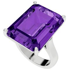 StyleRocks Emerald Cut Amethyst Gold Cocktail Ring