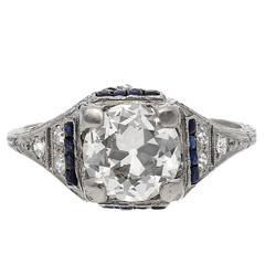 Old European Cut Art Deco Era 1.28 Carat Diamond and Sapphire Ring