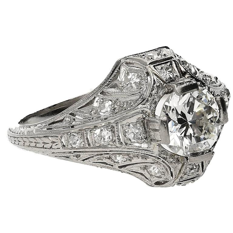 1920s  Old European Cut 0.98 Carat Diamond Platinum Ring