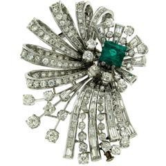 Emerald Diamond Platinum Flower Brooch