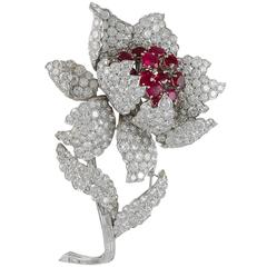 1960s Harry Winston Ruby Diamond Platinum Brooch