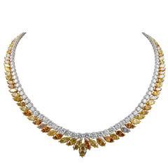 Fancy Colored Diamond Platinum Necklace