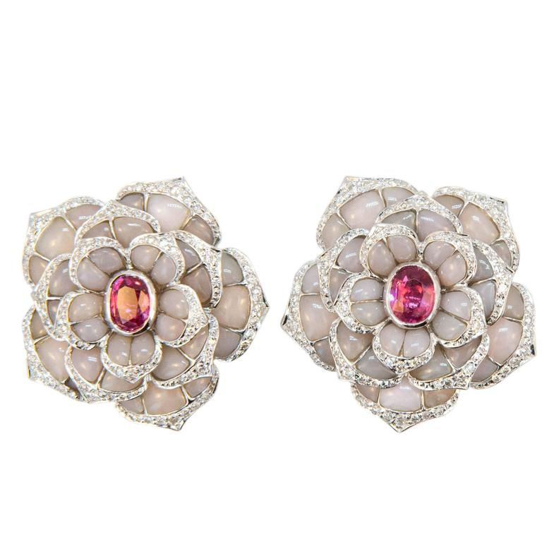 Laura Munder Pink Opal Pink Spinel Diamond White Gold Earrings For Sale